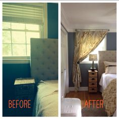 Design solution to hide awkward placement of headboard in front of off-set window. The single panel, pulled back, draws the eye away from the problem for a pleasing effect. The DIY galvanized pipe curtain rods are perfect for this treatment.