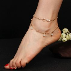 Anklets Simulated Pearl Infinity Charm Beads Ankle Bracelets For Women Leg Chain Barefoot Sandals Foot Jewelry Accessories - Designer Accessories Online - largest collection of fashionable designer clothing and accessories Anklet Jewelry, Anklet Bracelet, Women's Anklets, Foot Bracelet, Tassel Bracelet, Jewellery, Anklets Online, Leg Chain, Ankle Chain