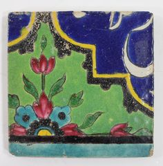Qajar Cuerda Seca Glazed Pottery Tiles, Persia, 19th century.