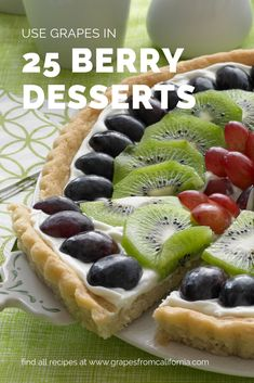 Fruit pizza with grapes from California is a fresh burst of flavor in every bite. Try using grapes in nearly any dessert recipe that calls for strawberries, raspberries, or blackberries. Find 25 berry desserts to try with grapes. Grape Recipes, Fruit Recipes, Dessert Recipes, Cooking Recipes, Fruit Snacks, Healthy Desserts, Easy Desserts, Delicious Desserts, Yummy Food