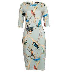 Voorjaars jurk Jaylinn vogelprint 7/8 mouwtjes Smashed Lemon bij Dresses Only