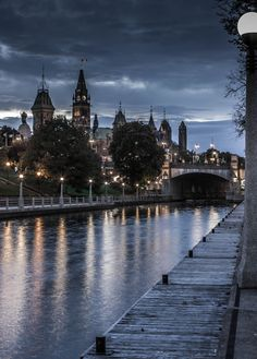 Rideau Canal @ Night - Ottawa, Canada - Canada's Parliament Building, foregrounded by the Rideau Canada. Ottawa Canada, Canada Eh, Dancing In The Dark, City Aesthetic, Canadian History, Canada Travel, Capital City, Aesthetic Pictures, Aesthetic Wallpapers