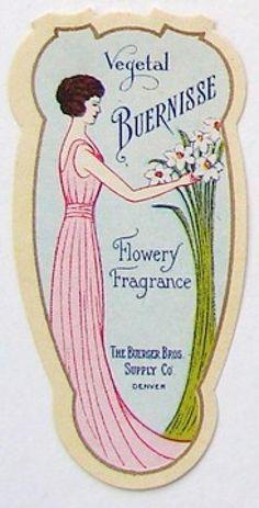 vintage perfume label images | VEGETAL BUERNISSE Vintage Perfume Label, smaller (PER257)