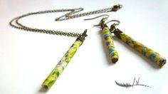parure bijoux tubes textiles: collier et boucles d'oreilles vert jaune bleu