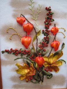 Chinese lanterns and red berries #ribbonEmbroidery