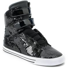 Supra Womens Society Black Sequin High Top Shoe ($105) ❤ liked on Polyvore