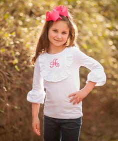 Love this White Initial Ruffle Tee - Infant, Toddler & Girls by Smockadot Kids on #zulily! #zulilyfinds