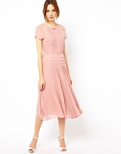 Warehouse | Warehouse Pleated Skirt & Bodice Midi Dress at ASOS