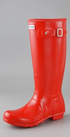red boots. perfect for looking cute when you're taking care of horses in the mud!