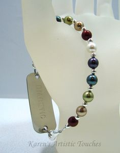 Jewel Blue Green Gold Swarovski Pearl Beaded by ArtisticTouches, $16.00