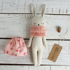 Bunny doll fabric doll made with organic linen organic cotton hemp dress and organic cotton scarf bunnydoll linendoll ecotoy organictoy organicdoll fabricdoll ragdollRabbit soft toy / bunny doll / grey flannelette or by willowynnbunny or bear soft to Rabbit Toys, Bunny Toys, Stuffed Animals, Stuffed Toy, Bunny Girls, Muñeca Diy, Pink Doll, Bunny Plush, Little Doll