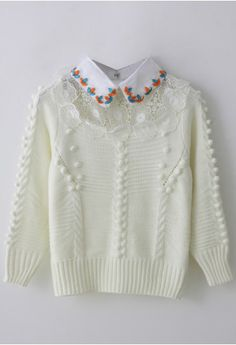Crochet Floral Sweater with Beads Collar