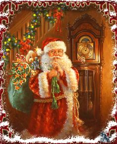 Santa by the Grandfather Clock on Christmas Eve