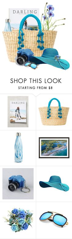 """to the beach #pompombag"" by flora-chn ❤ liked on Polyvore featuring Anthropologie, Nannacay, S'well and Pottery Barn"