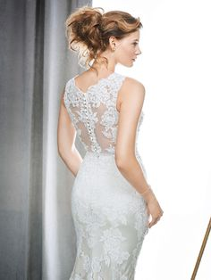 Kenneth Winston Style 1701 | lovely beaded embroidered lace wedding dress with sheer lace back | luxurious bridal gown