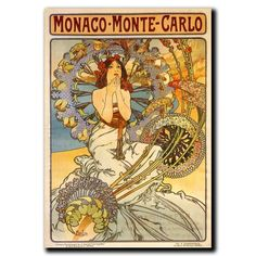 Monaco-Monte Carlo Poster, Original Art Nouveau Poster by Alphonse Mucha. Art Nouveau Poster, Canvas Wall Art, Art Prints, Alphonse Mucha, Vintage Art, Painting Prints, Art, Canvas Art, Trademark Fine Art