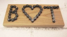 Personalized bicycle chain sign letters and heart