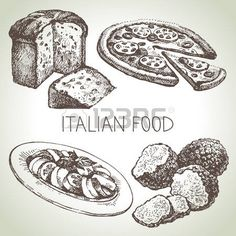 D� el bosquejo exhausto comida italiana set.Vector ilustraci�n photo