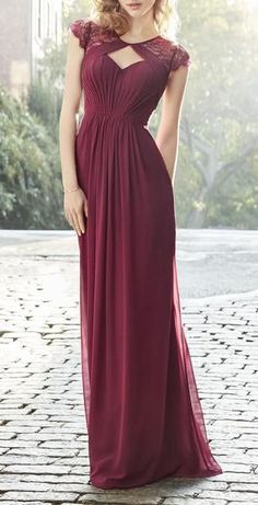 2017 Vintage Bridesmaid Gown, Elegant Cheap Cap Sleeves Lace Chiffon Long Bridesmaid Dress Burgundy Wedding Party Formal Gown