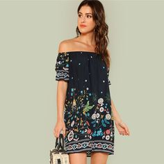 ca90c65d63 $34.99 Off the Shoulder Embroidered Ruffle Summer Dress Tribal Prints, Women's  Fashion Dresses, Dress