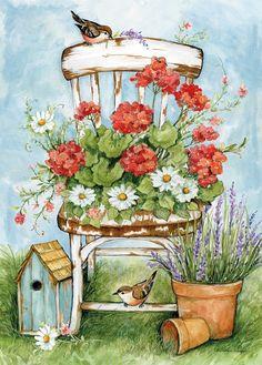"""Geranium Chair"" by Susan Winget Watercolor Flowers, Watercolor Paintings, Decoupage Vintage, Spring Art, Country Art, Whimsical Art, Geraniums, Christmas Art, Cute Art"