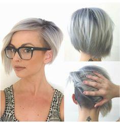 Assymetrisk undercut - måske det skulle prøves? Silver undercut #assymetrical #shorthair #Greyandfabulous