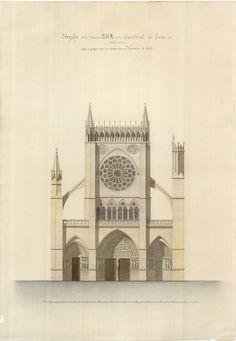'Proyecto para la fachada sur de la catedral de León' (1863)   expo 'Matías Laviña Blasco (1796-1868)' en biblioteca.arquitectura de @la_upm, vía Biblioteca UPM   #TheShowMustGoOn