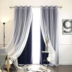 Features: -Set includes 2 blackout curtain panels and 2 white sheer curtain panels. -Blackout curtains block out 100% UV Rays and up to 99% of light. -8 Stainless steel nickel grommets per panel.