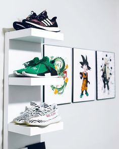A little custom anime goes a long way! Sneaker Storage, Shoe Storage, Hypebeast Room, Hypebeast Store, Room Goals, Room Setup, My Room, Room Inspiration, Vintage Outfits