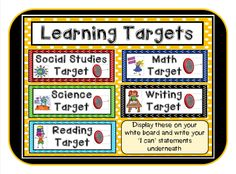 5 Learning Target Signs For The Basic Subjects Reading Writing Math Science