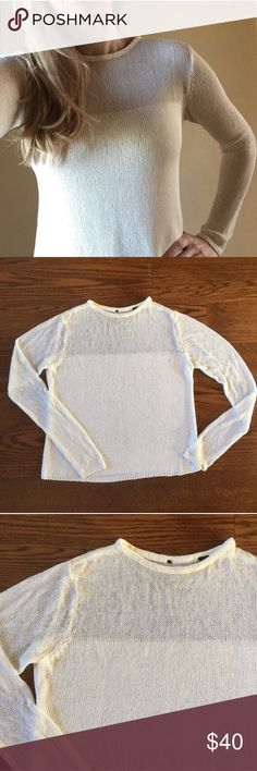 ISDA top Cream lightweight knit. Gorgeous. Tag removed because it showed through the back but this is an ISDA size medium. Model is a size 8 for reference. EUC, no significant flaws ISDA & Co Tops