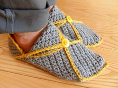 Hand Crocheted Grey Slippers with Yellow Trim Grey Slippers, Hand Crochet, Yellow, Accessories, Fashion, Grey Flip Flops, Moda, Fashion Styles, Fashion Illustrations