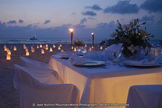 Candlelight dinner on Playa Norte on the tranquil island of Isla Mujeres (Island of Women), Mexico.