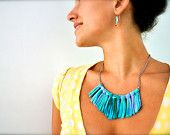 Statement Necklace - Ombre Turquoise Blue - Tribal Fringe Bib - Fabric Jewelry