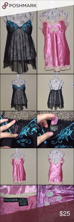 Pair of Nighties Black and blue mesh paneled nightie and pink satin like material nightie with floral design near hem. Both have adjustable straps and are in EUC no rips or stains. 🐸 offers welcome! Ask about custom bundles, save us both $$.🐸 Intimates & Sleepwear Chemises & Slips