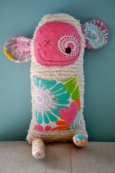 cuddly monster made from family mementos