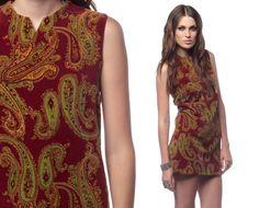 19d9641397f1 Mod Paisley Dress 60s Hippie Micro Mini 70s Shift Burgundy Go Go  Psychedelic Vintage 1960s Green Print 1970s Sleeveless Minidress Small S