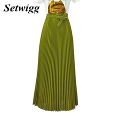 SETWIGG High Quality 90cm Long Chiffon Pleated Skirts Elastic Waist Belt Casual Candy Maxi Long Bohemian Summer Skirts 14 Colors * See this great product.