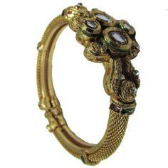 """Kundan Enamel Bangle Hinged 1 Pc Bracelet Jewelry India IBA. $24.99. SIZE - 2.3"""" Inch Diameter With Hinged Lock. SALE FOR - 1 Bangle, PRODUCT - Enamal Kundan Bangle. Kundan Enamel Gold Tone Bangle With Hinged Lock"""