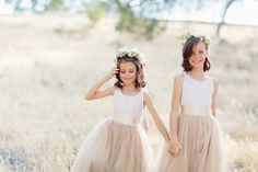 Flower Girls in Taupe Dresses. Photo by Elisabeth Millay Photography. Read More:  http://www.insideweddings.com/weddings/romantic-neutral-hued-wedding-at-a-paso-robles-california-vineyard/585/