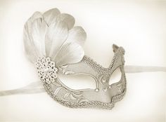 Silver Embroidery Masquerade Mask With Silver Feathers by SOFFITTA
