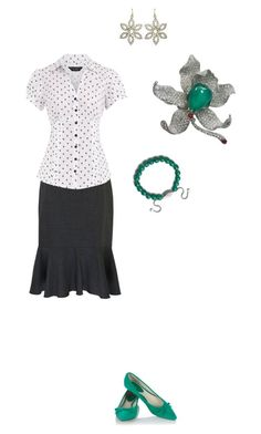 Teacher On the Go - With Green by cloudyeyz on Polyvore featuring polyvore fashion style Dorothy Perkins Eastex Oasis David Yurman Cocotay clothing polka dots tulip black work green orchid flats white brooch