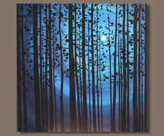nocturn trees in silhouette, abstract painting, tree painting, blue, full moon, huge painting, large wall art 40x40 original art, modern art