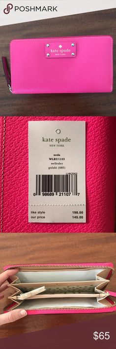 Kate Spade Pink Wallet / Never used Hot pink Kate Spade Wallet, never used kate spade Bags Wallets