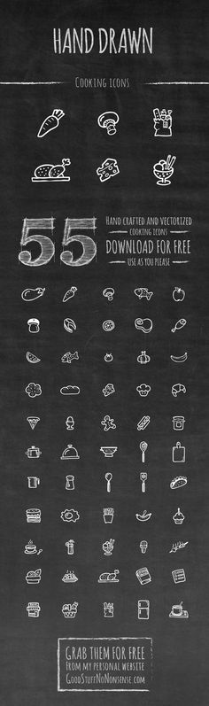 55 cool cooking hand drawn icons