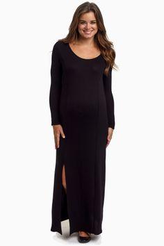 Black Solid Maternity Maxi Dress