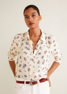 Floral Print Shirt from Mango in Mango Outlet, Floral Print Shirt, Floral Prints, Fashion News, Fashion Online, Printed Shirts, Kimono, Blouses, Clothes For Women