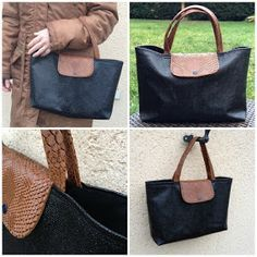 "Tuto big bag way ""Folding"" of Longchamps Bag Bicolore Cli . Diy Bags Purses, Diy Purse, Longchamp, Zip Zip, Tennis Accessories, Womens Designer Bags, Evolution T Shirt, Big Bags, Travel Bags"