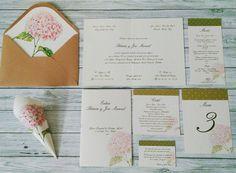 Papeleria creativa boda. Imagen boda. Invitación hortensia. Mesero boda. Wedding starionery.