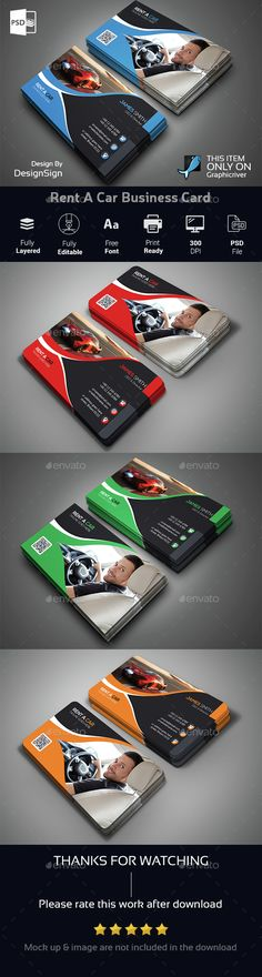 Rent A Car Business Card — Photoshop PSD #car rental #print • Available here → https://graphicriver.net/item/rent-a-car-business-card/14841416?ref=pxcr